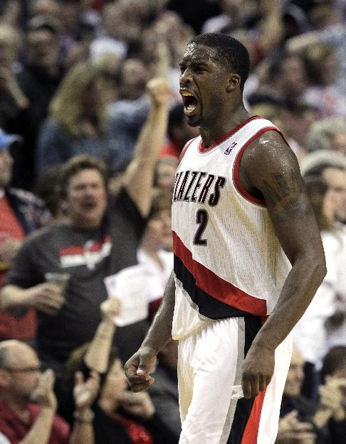 Portland Trail Blazers guard Wesley Matthews reacts after scoring during the second half of an NBA basketball game against the San Antonio Spurs in Portland, Ore., Saturday, Nov. 2, 2013. Matthews scored 20 points as they defeated the Spurs 115-105