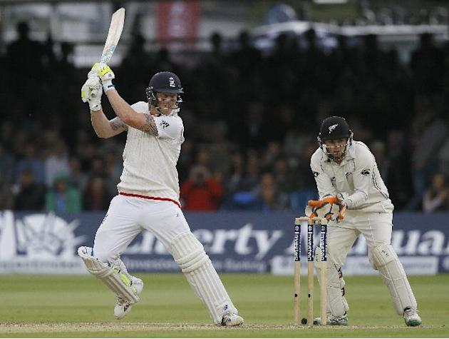 England's Ben Stokes plays a shot off the bowling of New Zealand's Matt Henry, during the fourth day of the first Test match between England and New Zealand at Lord's cricket ground in Lon
