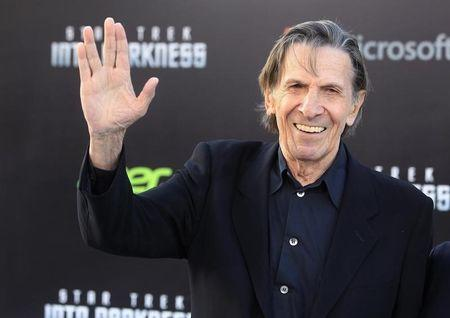 """Nimoy, cast member of new film """"Star Trek Into Darkness"""", poses as he arrives at film's premiere in Hollywood"""