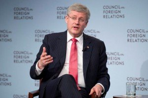 Prime Minister Stephen Harper speaks at the Council on Foreign Relations in New York, May 16, 2013 (Photo: Canadian Press/Adrian Wyld)