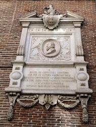 A commemorative marble plaque to Spanish writer Miguel de Cervantes on a wall of the Convent of Trinitarians in central Madrid, where Cervantes was buried, March 7, 2014