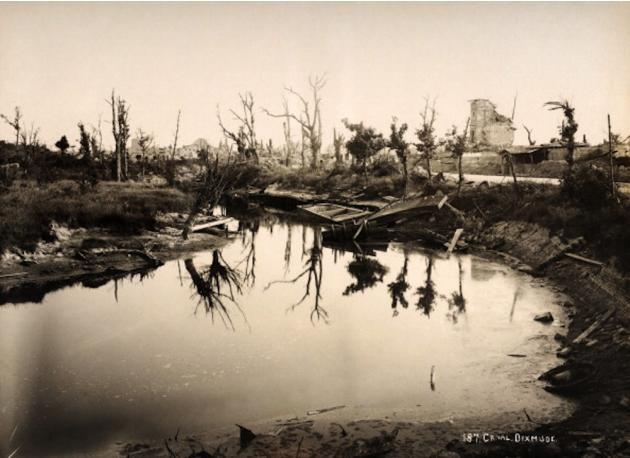 The canal at Diksmuide in Belgium, photographed soon after the end of World War One, circa March 1919. This image is from a rare series documenting the damage and devastation that was caused to towns