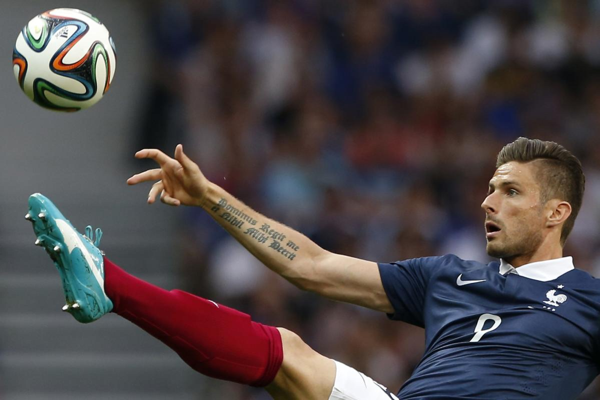 France S Olivier Giroud Controls The Ball During Their Friendly Soccer Match Against Jamaica In