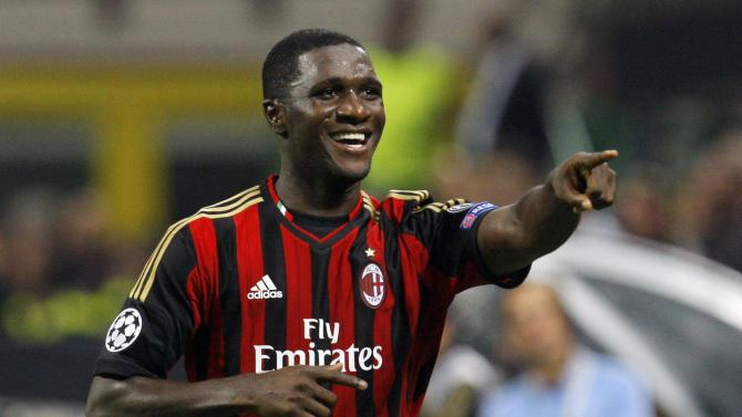 AC Milan's Zapata celebrates after scoring against Celtic during their Champions League Group H soccer match in Milan