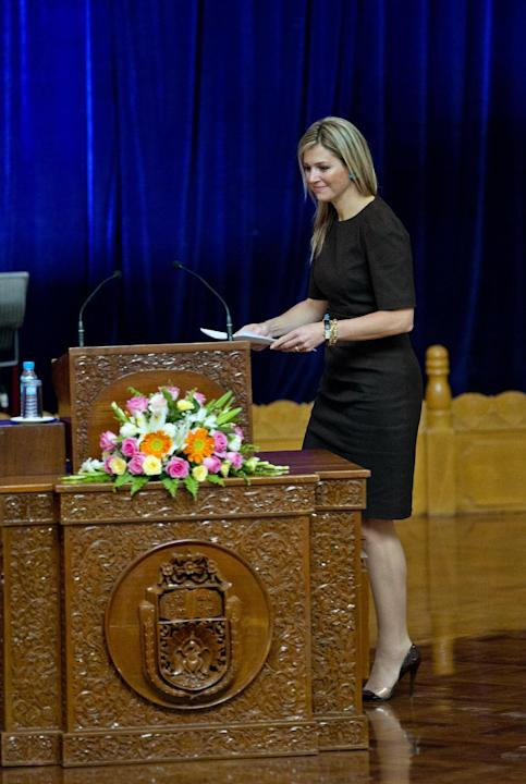 Queen Maxima of the Netherlands arrives to deliver a speech on the importance of access to financial services at the University of Yangon, Myanmar on Tuesday, March 31, 2015. Queen Maxima began a thre