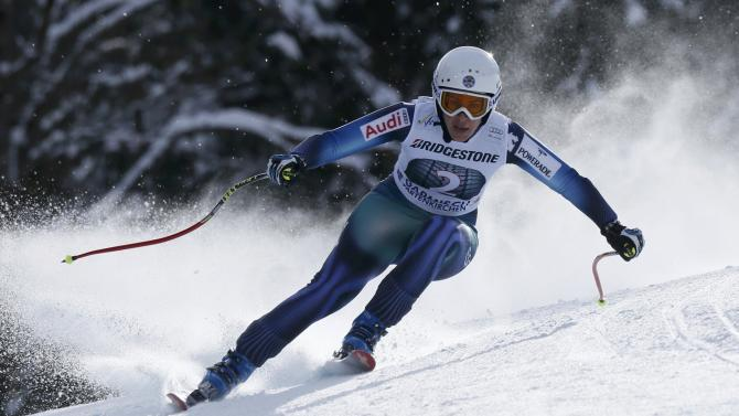 Ruiz Castillo from Spain speeds down during the last women's downhill training run of the Alpine Skiing World Cup in Garmisch-Partenkirchen