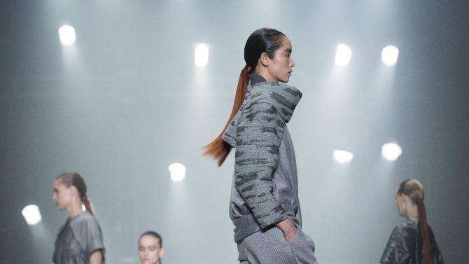 A model walks the runway during the Alexander Wang Fall 2013 fashion show during Fashion Week, Saturday, Feb. 9, 2013, in New York. (AP Photo/John Minchillo)