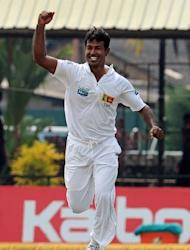 Sri Lanka's Nuwan Kulasekara (pictured) helped the hosts grab three New Zealand wickets for one run off four balls on the penultimate day of the second and final Test on Wednesday