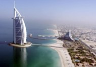 Aerial view of the luxury Burj Al Arab hotel in Dubai