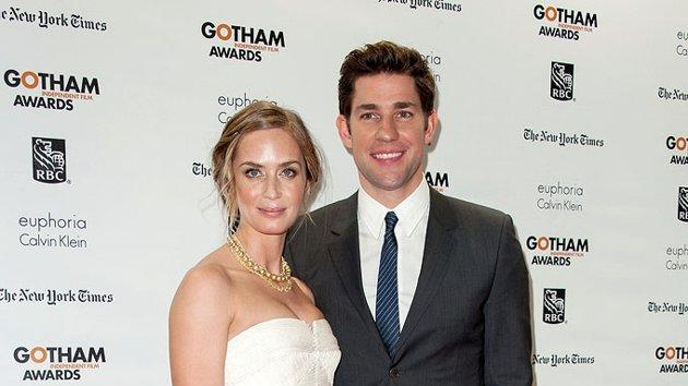 And last but not least we have one of our favorite Hollywood couples, Emily Blunt and John Krasinski, who made for quite the dynamic duo at the 22nd Gotham Independent Film Awards. Wearing a strapless Calvin Klein cut-out dress, layered Lorraine Schwartz necklace, and Jimmy Choo sandals, the big screen star clung to her TV star beau, who looked handsome in his gray CK suit and striped blue tie. (11/26/2012)