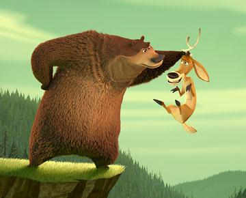Martin Lawrence as Boog the grizzly bear and Ashton Kutcher as Elliot, the one-horned mule deer in Columbia's Open Season