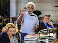 In this photo from Jan. 30, 2017, Neb. Sen. Ernie Chambers of Omaha speaks during a debate in Lincoln, Neb. Thirty days after they convened, Nebraska lawmakers are still spinning their wheels over parliamentary rules in what's shaping up to be one of the least productive legislative sessions in state history. Lawmakers on Wednesday, Feb. 15 will have burned through one-third of the days available for debate but have only passed two bills so far. (AP Photo/Nati Harnik)