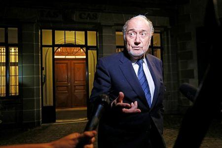 Former FIFA President Sepp Blatter leaves the Court of Arbitration for Sport (CAS) after being heard in the arbitration procedure involving him and FIFA in Lausanne