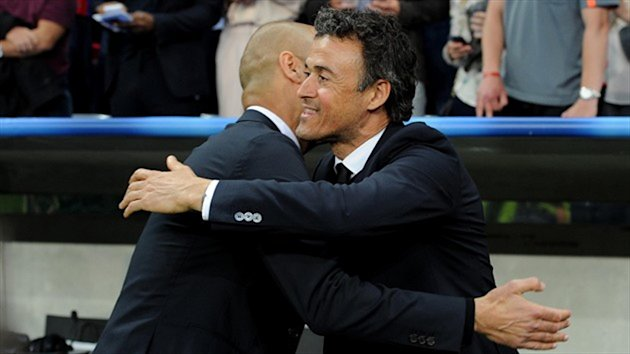 Former team-mates Luis Enrique, pictured right, and Pep Guardiola, left, experienced differing emotions following Tuesday's semi-final