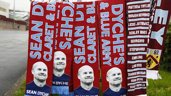 General view of Burnley scarves on sale outside the stadium before the match