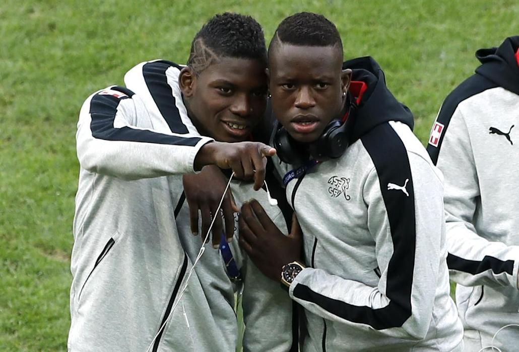 Switzerland's Denis Zakaria and Breel Embolo  before the game