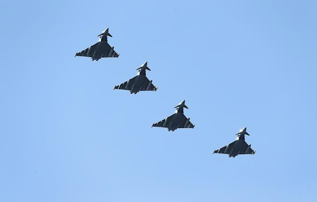 Four British Eurofighter Typhoons from the Royal Air Force arrive at Bodoe Main Air Station on the first day of the NATO Arctic Challenge Exercise