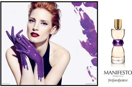 Jessica Chastain Paints Her Hands Purple For YSL's Manifesto Fragrance Campaign