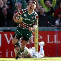 Adam Thompstone touched down for Leicester in their win over Bath