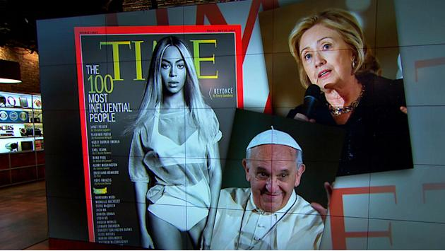 "Beyonce, Pope Francis among ""100 most influential people"" listing"
