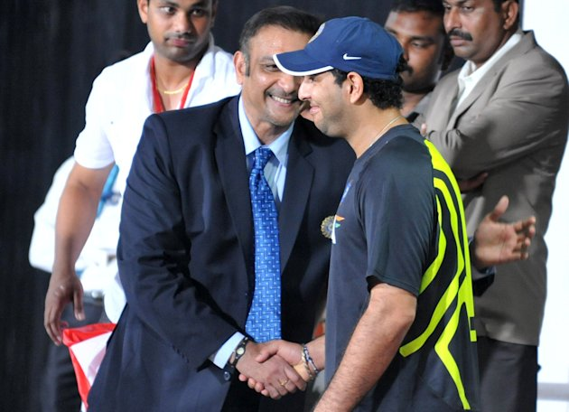 Ravi Shastri talks to Yuvraj Singh prior to the start of the first Twenty20 in Visakhapatnam.