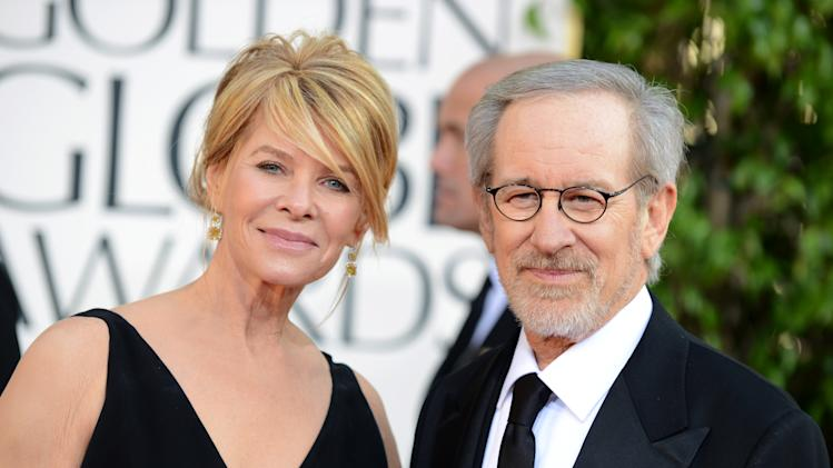 Director Steven Spielberg, right, and Kate Capshaw arrive at the 70th Annual Golden Globe Awards at the Beverly Hilton Hotel on Sunday Jan. 13, 2013, in Beverly Hills, Calif. (Photo by Jordan Strauss/Invision/AP)
