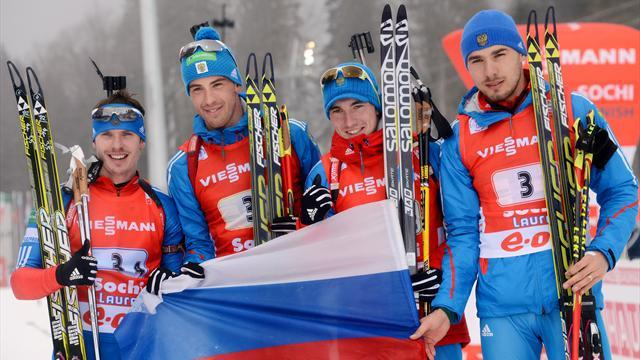 Biathlon - Russia triumph in Biathlon World Cup relay