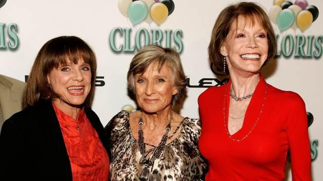 Valerie Harper, Cloris Leachman and Mary Tyler Moore arrive at the celebration for Cloris Leachman's 60 years in show business at Fogo De Chao restaurant on October 5, 2006 in Beverly Hills -- Getty Images