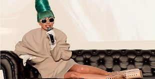 Lady Gaga answers questions when she was down in Singapore. (Yahoo! photo)