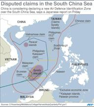 Graphic showing disputed claims in the South China Sea