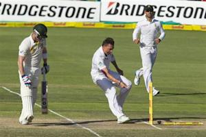 South Africa's Dale Steyn celebrates the wicket of Australia's Brad Haddin (L) with Robin Peterson looking on during the fourth day of the second cricket test match in Port Elizabeth, February 23, 2014. REUTERS/Rogan Ward