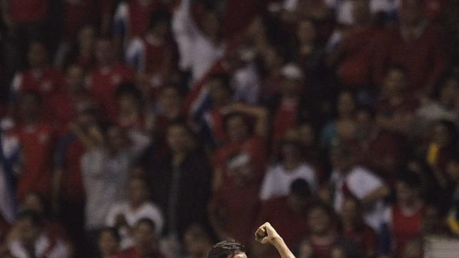 Costa Rica's Celso Borges celebrates his goal against the U.S. during their 2014 World Cup qualifying soccer match at the National Stadium in San Jose