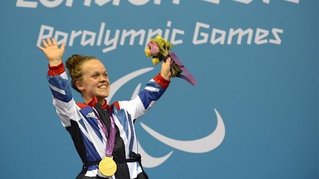 Ellie Simmonds wins gold at the London 2012 Paralympics (AFP)