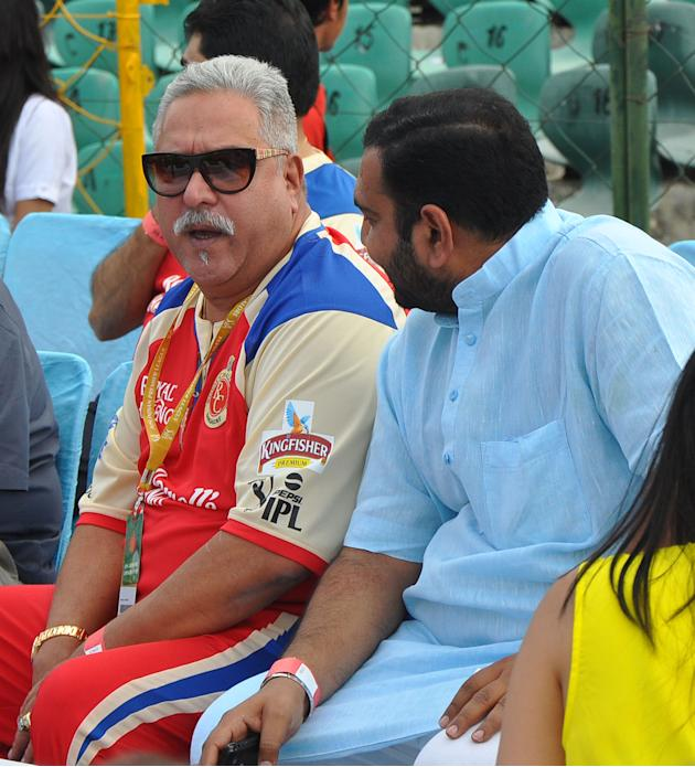 Royal Challengers Bangalore owner Vijay Mallya during the match between Royal Challengers Bangalore and Rajasthan Royals at Sawai Mansingh Stadium, Jaipur on April 29, 2013. (Photo: IANS)