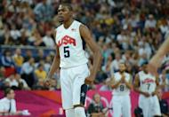 US forward Kevin Durant is pictured during his team's London 2012 Olympic Games men's quarterfinal basketball match against Australia in London on August 8. The defending basketball champions are cautious about the South American squad, a veteran lineup that won Olympic gold in 2004