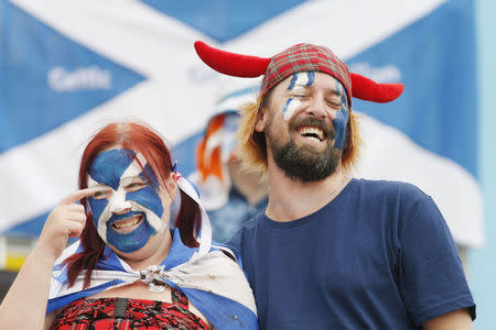 Scottish fans get ready for the Cricket World Cup match between Scotland and England in Christchurch