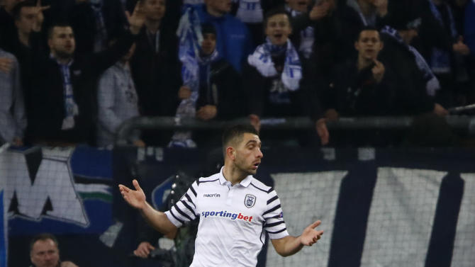 PAOK's Efthimios Koulouris looks dejected after scoring a goal that was disallowed