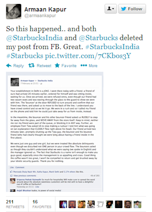 Starbucks India Deletes A Negative Facebook Post image Armaan Starbucks tweet