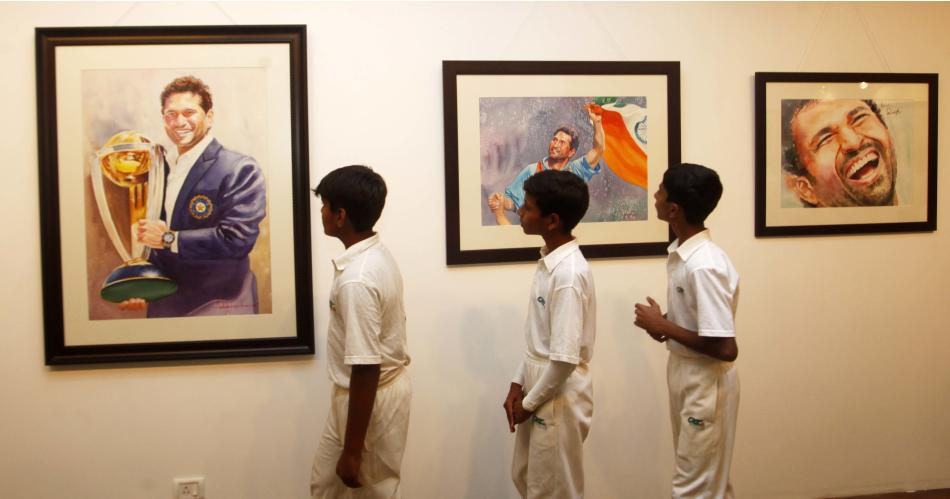 Exhibition Of Paintings On Sachin Tendulkar In Mumbai
