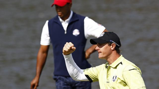 Colsaerts defies Woods as Europe stay in touch at Ryder Cup