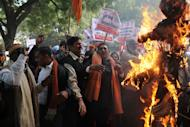 Demonstrators burn an effigy representing rapists during a protest calling for better safety for women following the rape of a student in the Indian capital, in New Delhi on December 26, 2012. India's government ordered a special inquiry Wednesday into the gang-rape of a student which sparked mass protests, as police announced the arrest of 10 men over another multiple sex assault