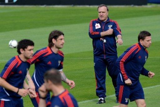 Russia's coach Dick Advocaat attends a training session at the Victoria stadium in Sulejowek