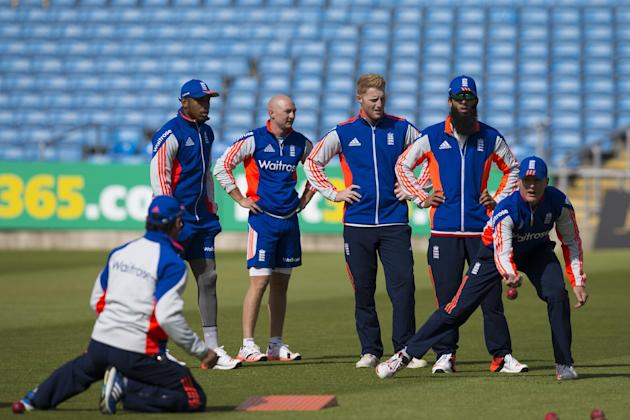England players including Ben Stokes, centre right, Adam Lyth, centre left, and Moeen Ali, second right, are seen during nets the day before the second Test match between England and New Zealand at He