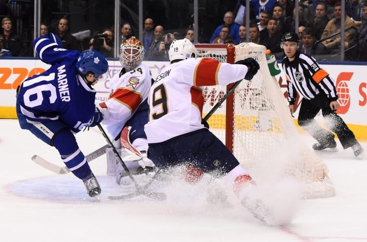 Mitchell Marner of the Toronto Maple Leafs scores on James Reimer of the Florida Panthers as Michael Matheson tries to break up the play during the first period at the Air Canada Centre on Nov. 17, 2016 in Toronto. (Photo by Graig Abel/NHLI via Getty Images)