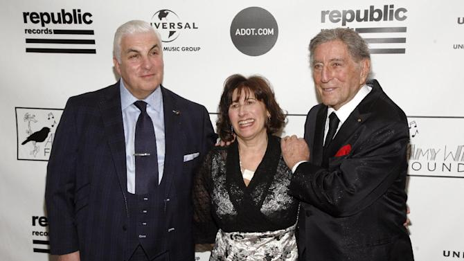 From left, Mitch Winehouse, Janis Winehouse and singer Tony Bennett attend the 2013 Amy Winehouse Foundation Inspiration Awards and Gala on Thursday March 21, 2013, at the Waldorf Astoria Starlight Room in New York. (Photo by Andy Kropa/Invision/AP)