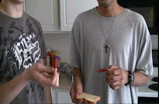 Two boys from a YouTube video dare to eat a ghost pepper.