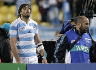Argentina's Juan Fernandez Lobbe leaves the field injured during their Rugby World Cup Pool B match against Scotland at the Wellington Regional stadium, New Zealand, Sunday, Sept. 25, 2011. (AP Photo/Natacha Pisarenko)