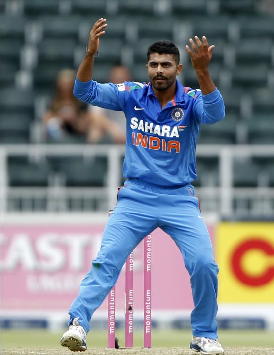India's Ravindra Jadeja gestures during their 1st OD against South Africa in Johannesburg