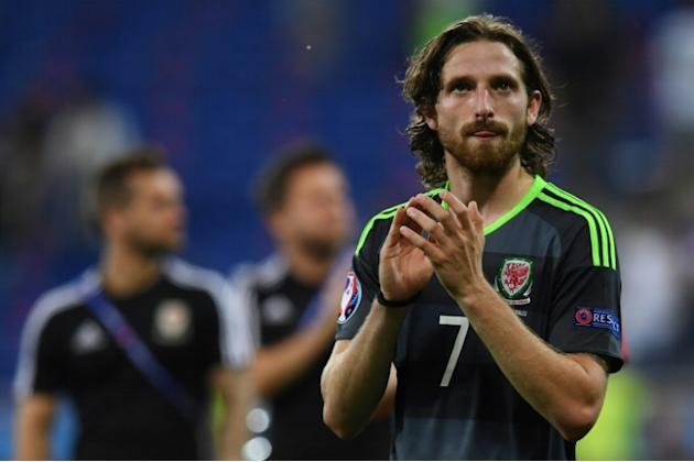 Wales' midfielder Joe Allen reacts at the end of the Euro 2016 semi-final football match between Portugal and Wales on July 6, 2016