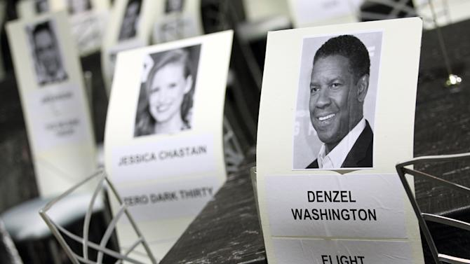 Seating placards for the 19th annual SAG Awards are seen inside the Shrine Auditorium on Saturday, Jan 26, 2013 in Los Angeles. The SAG Awards will be held Jan. 27, 2013. (Photo by Matt Sayles/Invision/AP)